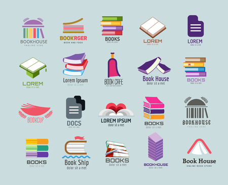 Illustration pour Book vector   template set. Books  . Book open. School library books. Education, university, college symbol or knowledge, books stack, publish, page paper. Book icons. Isolated. Books vector icons set - image libre de droit