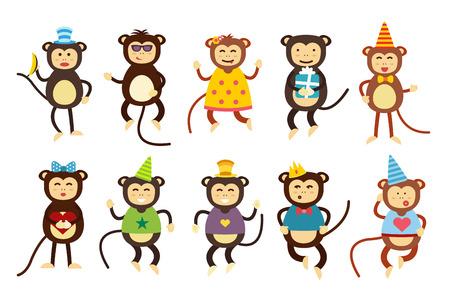 Illustration for Happy cartoon vector christmas monkey toys dancing party birthday background. Monkey party birthday dance. Merry christmas monkey toys, monkey vector, banana, jump, smile, monkey play. Vector monkey animals cartoon flat style - Royalty Free Image
