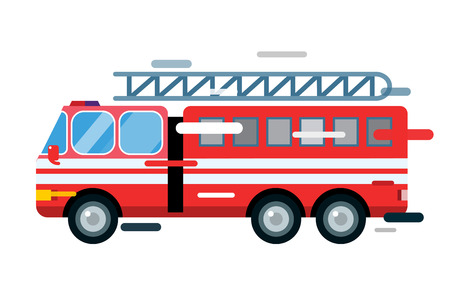 Illustrazione per Fire truck car isolated. Fire truck vector cartoon silhouette. Fire truck mobile fast emergency service. Fire truck fast moving. Fire truck vector illustration. Vector rescue fire truck - Immagini Royalty Free