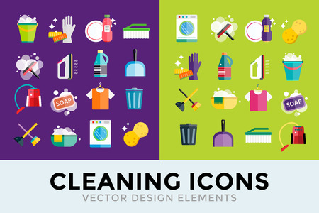 Illustration for Cleaning icons vector set. Icons of clean service and cleaning tools. Housework cleaning icons vector set. Home clean, sponge icon, broom icon, bucket icon, mop icon, cleaning brush vector icon - Royalty Free Image