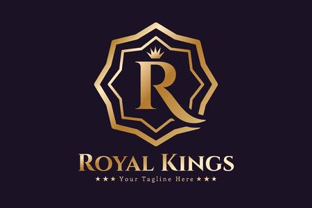 Illustration for Royal logo vector template. Hotel logo. Kings symbol. Royal crests monogram. Kings Top hotel. Letter R logo. Royal hotel, Premium R brand boutique, Fashion R logo, Lawyer logo. Crown. vintage modern style - Royalty Free Image