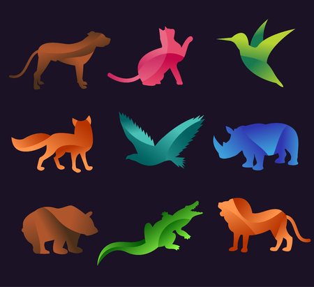 Photo pour Animal zoo vector icons set. Wild animals vector collection. Jungle animals, vector animals, fox, lion, monkey, cat and dog. Sea and forest animals icon.  - image libre de droit