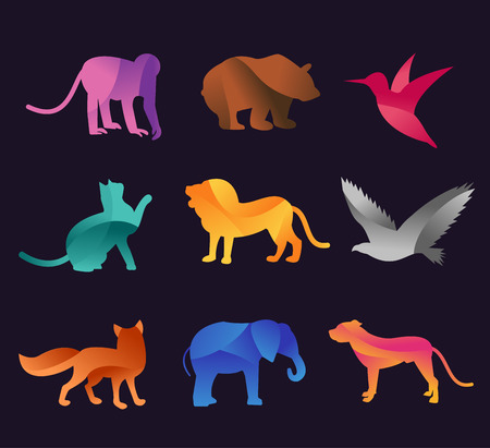Animal zoo vector icons set. Wild animals vector collection. Jungle animals, vector animals, fox, lion, monkey, cat and dog. Sea and forest animals icon.