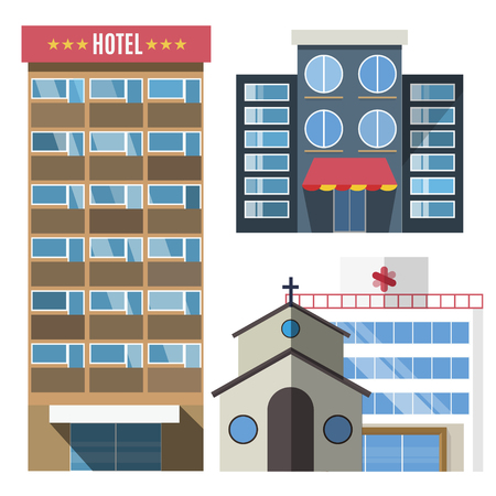 Foto de Vector buildings set. Skyscrappers, small house isolated on white background. Bank, market, hospital and hotel, church, shop. City constructor design elements, skyscraper vector, buildings vector, buildings constructions - Imagen libre de derechos