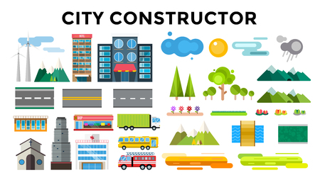 Illustration pour Buildings and city transport flat style illustration. Flat design city downtown background. Roads and city buildings, sky and mountains. Architecture small town market, hospital, church, shop, bus, fire truck, helicopter - image libre de droit
