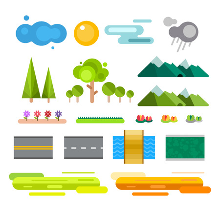 Illustration pour Landscape constructor icons set. Buildings houses, trees and architecture signs for map, game, texture, mountains, river, sun. Design element Isolated on white.Tree vector,road elements,city elements - image libre de droit