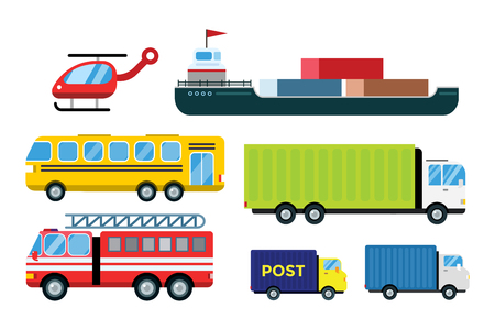 Illustrazione per Transport delivery vector trucks isolated on white. Transportation cars, bus, truck, van, fire truck, city cars, helicopter, mini car, van truck. Delivery van vector silhouette. Vector car icons - Immagini Royalty Free