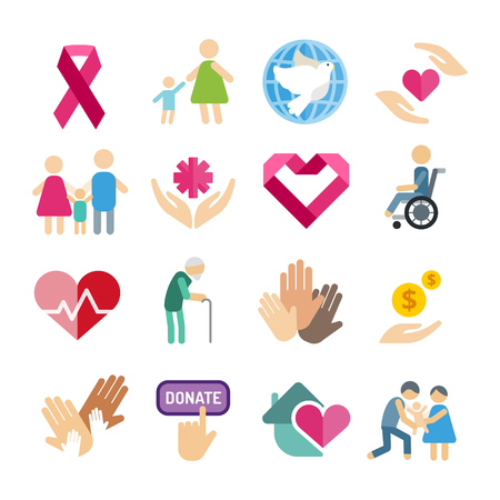 Illustration for Charity flat icons set - Royalty Free Image