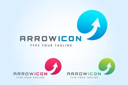 Ilustración de Vector arrow icon. Arrow abstract icon template. Up arrow, cursor arrow icon, arrowheads. Arrow marker and dynamic arrow symbol. Arrow isolated. Arrow vector icon. Arrow company icon - Imagen libre de derechos