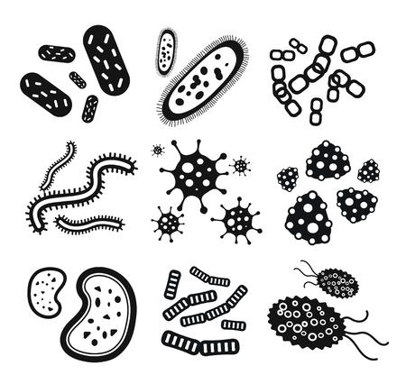 Ilustración de Bacteria virus black and white icons set - Imagen libre de derechos