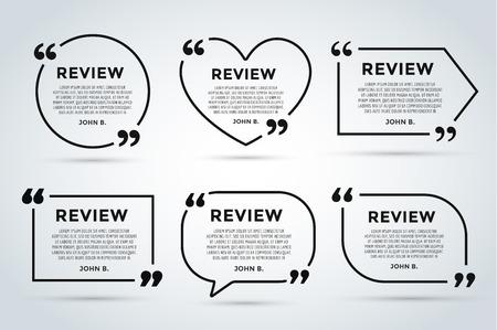 Ilustración de Website review quote citate blank template. Website review vector icon. Quote comment template. Quote bubble. Shop customer review template. Circle review template, paper sheet, information, text. Customers review design. Quote form. Web site comment vect - Imagen libre de derechos