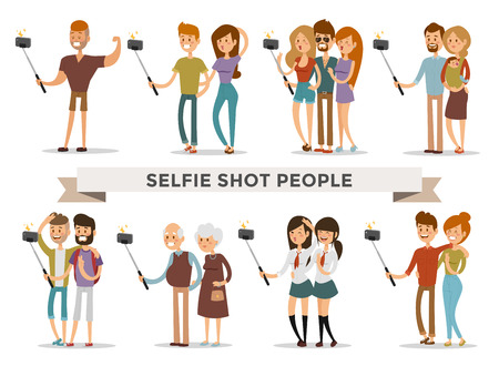 Illustration pour Selfie shots family and couples vector illustration. Selfie shot man, woman, teenagers, pensioners, gays. Vector selfie people set. Selfie vector concept modern life with selfie photo camera. Selfie smile, selfie concept - image libre de droit