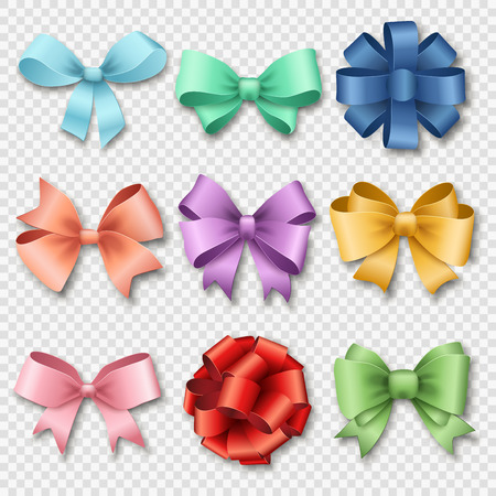 Ilustración de Ribbons set for Christmas gifts. Red gift bows with ribbons vector illustration. Red gift ribbons and bows for New Year celebrate. Christmas ribbons, christmas gifts, christmas bows. Birthday ribbons, birthday gifts - Imagen libre de derechos