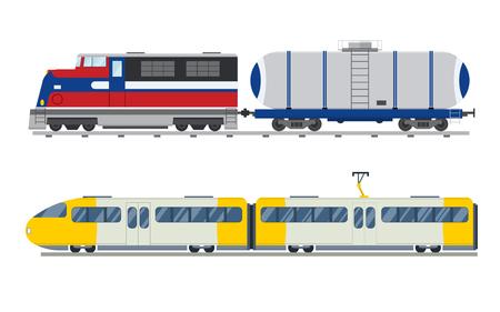 Ilustración de Passenger and transportation trains vector collection.  - Imagen libre de derechos