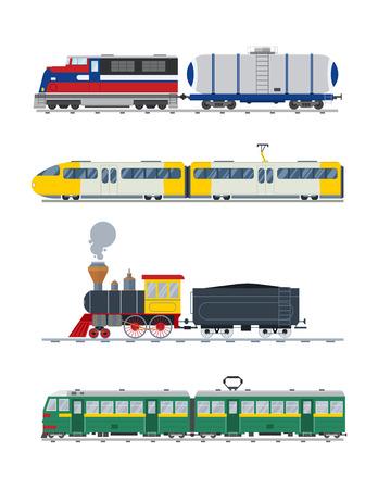 Ilustración de Modern and vintage trains vector collection.  - Imagen libre de derechos