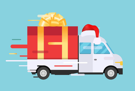 Ilustración de Delivery vector transport truck, van with gift box pack. Delivery service van, delivery truck, gift box. Wedding box, birthday box. Product goods shipping transport. Fast delivery gift box with bow, ribbon - Imagen libre de derechos