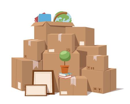 Illustration pour Move service box full vector illustration. Move box business. Craft box isolated on background. Box for moving, open box. Move business, moving box, relocation box. Transportation package cargo service - image libre de droit