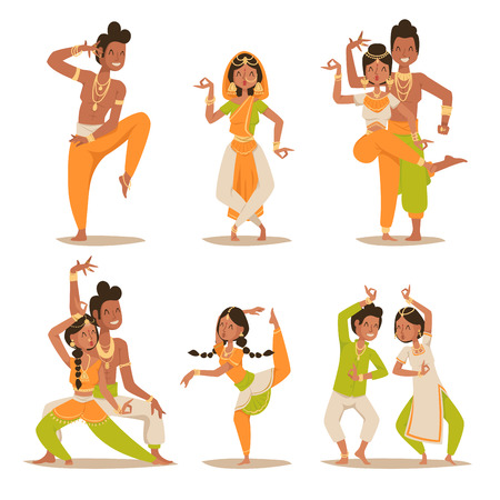 Illustration for Indian women and man dancing vector isolated. Indian dancers vector silhouette. Indian cartoon dancers diferrent pose icons. Indian people dancing on white background. India, dance, show, party, movie, cinema, cartoon - Royalty Free Image