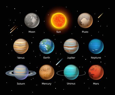 Illustration pour Planets colorful vector set on dark background, Planet vector set. Planet icons 3d infographic elements. Planets collection silhouette. Planets illustration vector 3d icons - image libre de droit