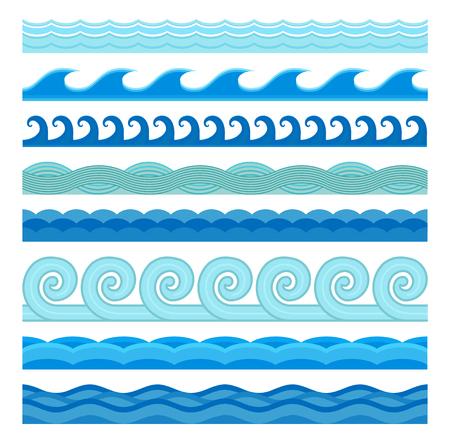 Ilustración de Waves flat style vector seamless icons collection. Wave icons isolated on white background. Wave icons set. Wave seamless pattern blue color illustration. Wave icons isolated. Different sea water wave nature design elements - Imagen libre de derechos