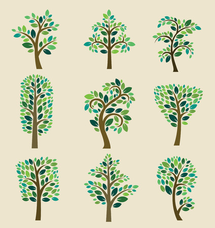 Illustration for Stylized vector tree collection.  - Royalty Free Image