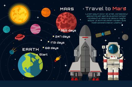 Illustration pour Space travel to Mars infographic. - image libre de droit