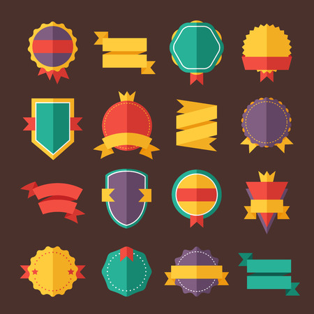 Illustration pour Modern flat design badges collection. Vector badges flat modern style. Vintage, retro flat badges, labels and ribbons. Badges isolated, modern flat solid style. Badges icons, badges vector. Badges icons - image libre de droit