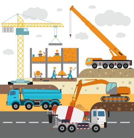 Illustration pour Building under construction, workers and construction technics vector illustration. Building mixer truck, crane vector. Under construction vector concept. Workers in helmet, construction machine isolated - image libre de droit