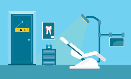 Illustration pour Dentist office illustration. Dentist doctor office vector. Dental care, tooth care tools, doctor office, tooth oral brush toothpaste. Dental clinic illustration vector. Dental care - image libre de droit