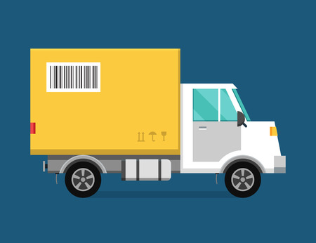 Illustrazione per Delivery vector transport truck van and gift box pack. Delivery service van, delivery truck, delivery car. Delivery box silhouette. Product goods shipping transport. Fast delivery - Immagini Royalty Free