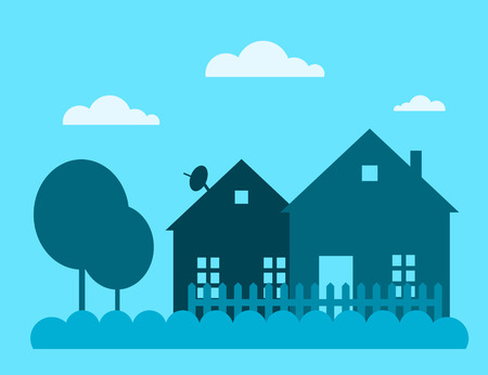 Ilustración de Family house building vector illustration. House building silhouette isolated on background. Cottage home house building. House vector, house building cottage vector - Imagen libre de derechos