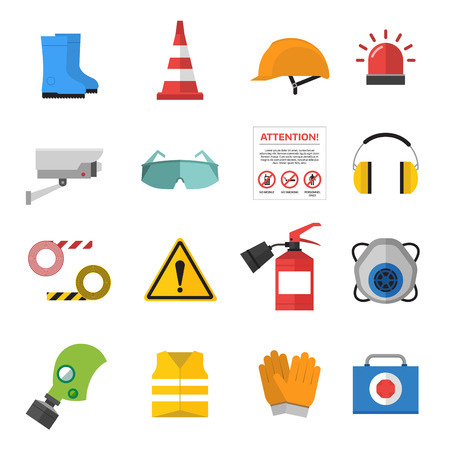 Illustration pour Safety work icons flat style. Safety icons vector illustration. Safeti icons isolated on white background. Safety work icons. Safety symbols elements collection. Safety at work - image libre de droit