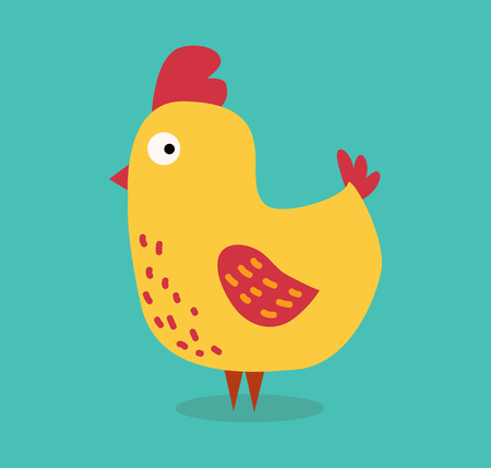 Ilustración de Cute cartoon chicken vector illustration. Cartoon chicken bird isolated on background. Chicken, bird, farm bird. Vector chicken farm animal. Cute chicken vector illustration. Chicken farm animal vector isolated - Imagen libre de derechos