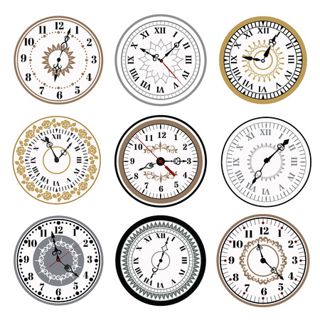 Ilustración de Clock watch alarms vector icons illustration. Clock face icons isolated on white background. Clocks, watch silhouette. Old, retro, modern and fashion clocks. Time tools icons, alarm, watch icons isolated - Imagen libre de derechos
