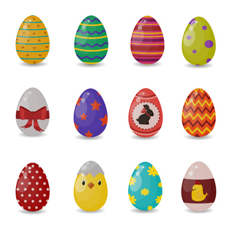 Illustration pour Easter eggs vector flat syle icons isolated on white background. Easter eggs icons vector. Easter eggs isolated, Easter holidays flat design sign. Easter, eggs, holidays greeting. Vector easter eggs set - image libre de droit