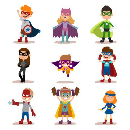 Ilustración de Superhero kids boys and girls cartoon vector illustration. Super children illustration. Super hero kids playing, fly, Super kids in action. Superkids flying, success people concept - Imagen libre de derechos