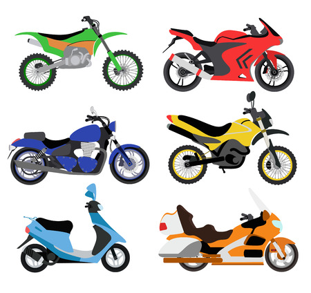 Illustration pour Vector motorcycles illustration. Motorcycles isolated on white background. Cross bike, sport bike, city bike vector. Different motorcycle moto bikes illustration. Bike collection - image libre de droit