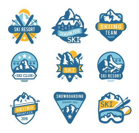 Illustration pour Ski resort logo emblems, labels badges vector elements. Extreme ski, snowboarding resort club badges set. Winter games, outdoors adventure ski snowboard logo badge vintage style. Ski resort logo icons - image libre de droit