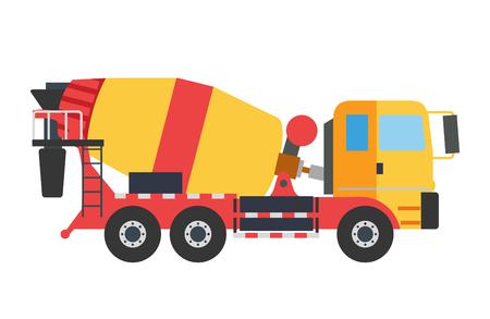 Illustration pour Building under construction cement mixer machine machine technics vector illustration. Building cement mixer machine truck vector. Under construction vector concept. Mixer vector isolated.Cement mixer - image libre de droit