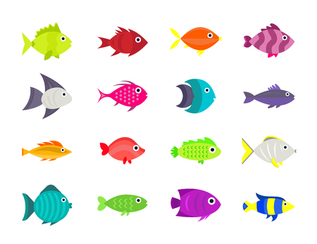 Ilustración de Cute fish vector illustration icons set. - Imagen libre de derechos