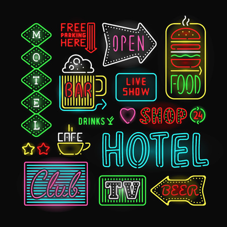 Illustration pour Light neon labels vector illustration. Neon labels font decorative symbols. Night neon light bright symbol. Neon symbols, neon light, neon bright. Lighting neon text objects - image libre de droit