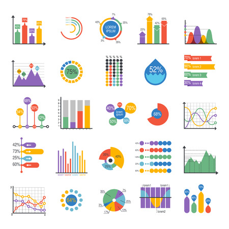 Illustration pour Business data graph analytics vector elements. Bar pie charts diagrams and graphs flat icons set. Infographics data analytics design elements isolated on white vector illustration - image libre de droit