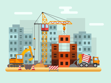 Illustration pour Building under construction, workers and construction technical vector illustration. Building mixer truck, crane vector. Under construction concept. Workers in helmet, construction machine isolated - image libre de droit