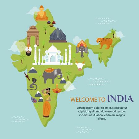 Illustration for India landmark travel map vector illustration. Indian culture sign design elements. India travel time vector illustration - Royalty Free Image