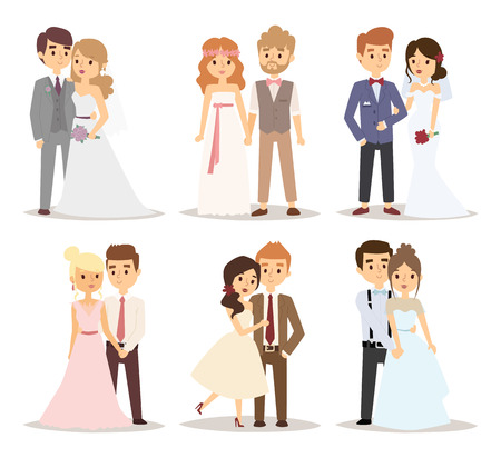 Illustration for Wedding couple vector illustration. - Royalty Free Image