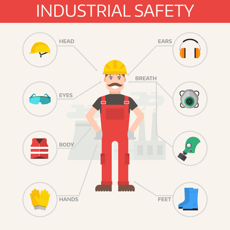 Illustration pour Safety industrial gear kit and tools set flat vector illustration. Industrial safety set. Body protection worker equipment elements infographic. - image libre de droit