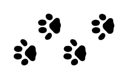 Ilustración de Animal black foots and wildlife animal mammal steps, pet traces. Animal foots silhouette steps Animal foot prints and tracks isolated steps traces on white for wildlife concept design vector. - Imagen libre de derechos