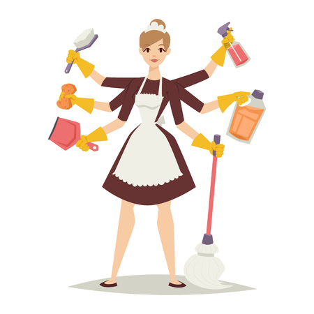 Illustration pour Housewife girl homemaker cleaning and housewife pretty girl wash. Housewife girl and home cleaning equipment icon in flat style vector illustration. - image libre de droit