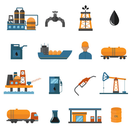 Illustration pour Oil gas industry manufacturing and oil gas icons for infographic. World oil gas production icons distribution and petroleum extraction rate business infochart diagram report vector. - image libre de droit