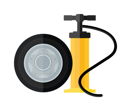 Illustration pour Hand pump instrument and automobile service equipment hand pump vector. Device hand bicycle and car pump flat cartoon vector style icon. - image libre de droit